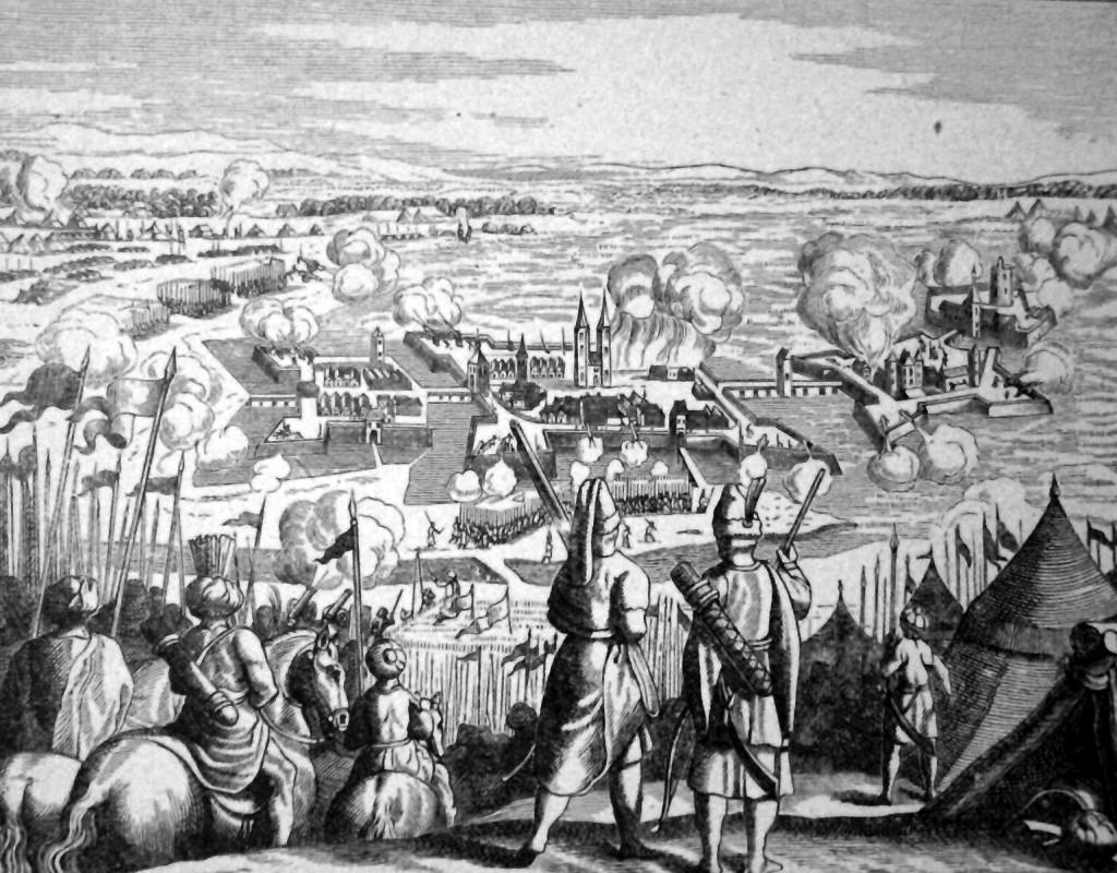 Szigetvár 1566-os ostroma egy 17. századi rézmetszeten. Csak nagyon kevés olyan korabeli árbrázolás maradt fenn, amely élethűen tüntetné fel Szigetvár egykori  környékét.