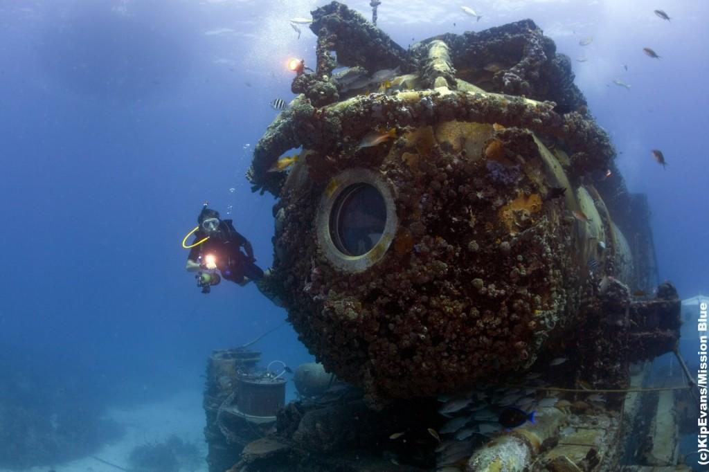 A NOAA tulajdonában álló Aquarius víz alatti laboratórium 20 méteres mélységben, a floridai Key Tengeri Nemzeti Park terüetén.